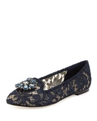 Dolce And Gabbana Crystal Embellished Lace Loafer Navy