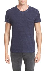 Belstaff Men's Crossfell Extra Trim Fit Stripe Jersey T Shirt Ink Blue