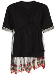 Simone Rocha Floral Embroidered Lace Peplum T Shirt Black