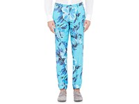 Cifonelli Men's Floral Print Single Pleated Trousers Blue