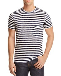 7 For All Mankind Tie Dyed Striped Tee Navy