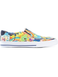 Polo Ralph Lauren Floral Paisley Print Slip On Sneakers Blue