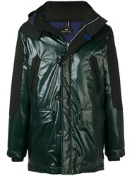 Paul Smith Ps By Contrasting Panels Parka Coat Green