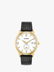 Citizen Bv1112 05A 'S Sport Date Leather Strap Watch Black White