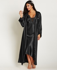Flora By Flora Nikrooz Plus Size Satin Stella Robe Black