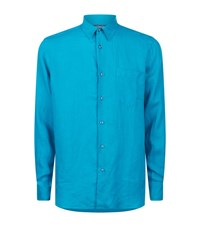 Vilebrequin Caroubis Linen Shirt Male Turquoise