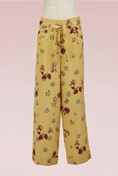 Valentino Flower Printed Silk Pants Yellow