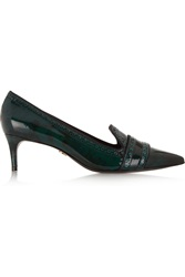 Tory Burch Monroe Patent Leather Pumps Green