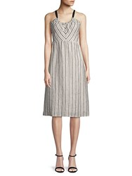 Lucca Couture Daphne Linen Midi Dress Canopy Stripe