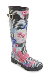 Joules Women's 'Welly' Print Rain Boot Grey Beau Stripe