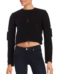 Rachel Zoe Knit Trim Cropped Jacket Black