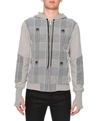 Alexander Mcqueen Plaid And Skull Print Zip Up Hoodie Light Gray Light Grey