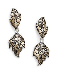 John Hardy Dot Ayu Sterling Silver And 18K Yellow Gold Leaf Drop Earrings
