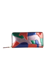 Comme Des Garcons Patchwork Metal Long Zip Wallet Multicolor