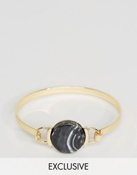 Designb London Black Stone Bangle Bracelet In Gold Gold Silver