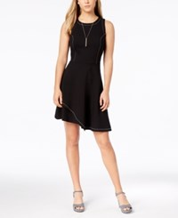 Bar Iii Contrast Stitch Layered Hem Fit And Flare Dress Created For Macy's Black