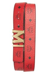 Mcm Men's Reversible Signature Leather Belt Ruby Red