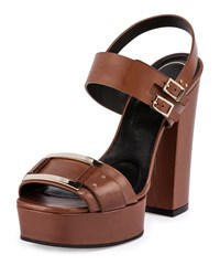 Roger Vivier Plateau Leather Buckle Sandal Cognac Red Women's Size 40.0B 10.0B