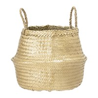 Bloomingville Round Seagrass Basket With Handles Gold