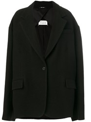 Maison Martin Margiela Oversized Short Coat Cotton Polyamide Virgin Wool Xs Black