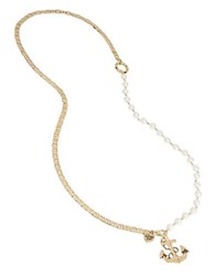 Betsey Johnson Anchors Away Faux Pearl And Pendant Necklace White