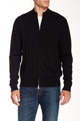 Peter Millar Drop Needle Full Zip Merino Wool Cardigan Black