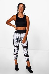 Boohoo Fit Pixel Mesh Capri Running Leggings White