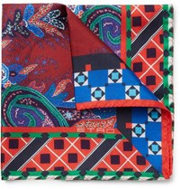 Etro Paisley Print Silk Twill Pocket Square Red