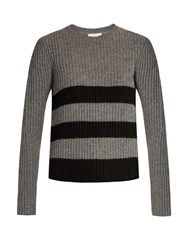 Equipment Carson Striped Intarsia Ribbed Knit Sweater Grey