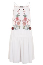 Topshop Floral Embroidered Beach Dress Cream