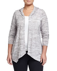 Balance Open Front Hooded Cardigan Heather White