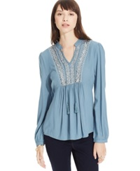 American Rag Embellished High Low Peasant Tunic Bleached Denim