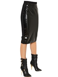 Francesco Scognamiglio Viscose Crepe Jersey Andlatex Pencil Skirt
