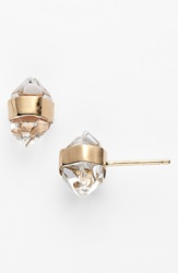 Melissa Joy Manning Stone Stud Earrings Herkimer Diamond Yellow Gold