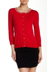 Cable And Gauge Pearls Neckline Cardigan Red