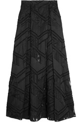 Amanda Wakeley Burnout Cotton And Silk Blend Organza Maxi Skirt Black