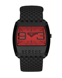 Versus By Versace 37.5Mm Men's Angle Rectangle Watch W Leather Strap Red