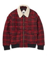 Bellfield Paramount Bomber Jacket In Check Red