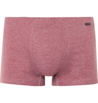 Hanro Striped Mercerised Cotton Jersey Boxer Briefs Claret