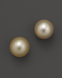 Bloomingdale's Golden South Sea Cultured Pearl Stud Earrings 11 12Mm Yellow Gold