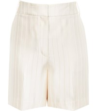 Reiss Lilea Short Striped Tailored Shorts In Champagne