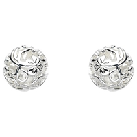 Kit Heath Sterling Silver Carved Ball Stud Earrings