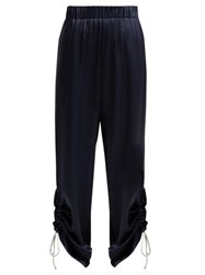 Hillier Bartley Gathered Cuff Silk Satin Trousers Navy