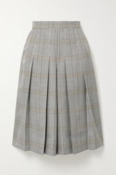 Maje Pleated Checked Woven Culottes Gray