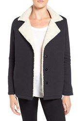 Velvet By Graham And Spencer Women's French Terry Jacket With Faux Shearling Lining