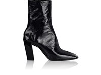 Balenciaga Women's Inclined Heel Patent Leather Ankle Booties Black