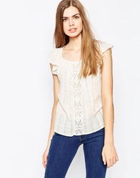 Vila Short Sleeve Cheese Cloth Top With Embroidered Detail Peachblush