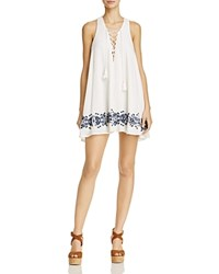 Show Me Your Mumu Daryn Lace Up Dress Navy Embroidery