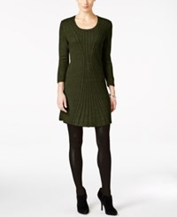 Ny Collection Petite Cable Knit Sweater Dress Wild Sage