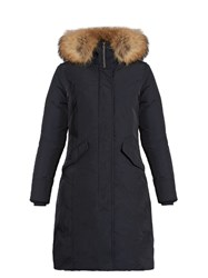 Woolrich Luxury Arctic Fur Trimmed Padded Parka Navy